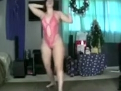 Overweight dancer shows off her sexy a-gap and her appetizing milk sacks