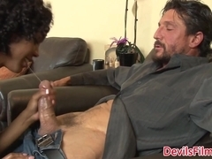 Inked ebony amateur ass bouncing on cock