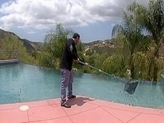 Ebony gal fucks the pool boy