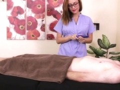 Dominant masseuse jerking pathetic client