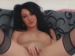 Hot Busty Babe Fingering Her Tight Pink Cunt On Cam