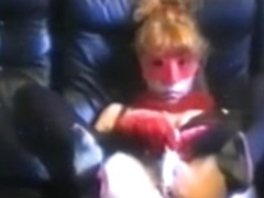 Ingrid, with red mask - plays with sextoy