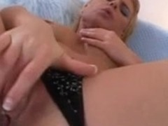 Hawt golden-haired hottie takes all of the anal beads