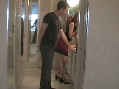 Wife husband ballbusting with high heel cuckold