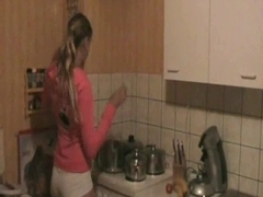 An awesome fuck in the kitchen