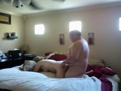 How did fatty gets his dick in her pants. she looks totally bored !!!