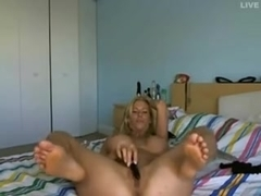 Awesome blonde MILF and her sex toy
