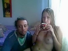 Hippy couple having fun infront of webcam