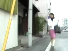 Stylish black-haired Asian princess flashes her underwear during sharking attack