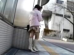Two Asian cuties showed their butts in this upskirt video