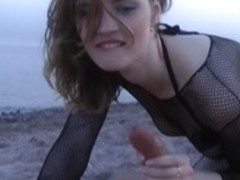 Sex on the beach with thick facial