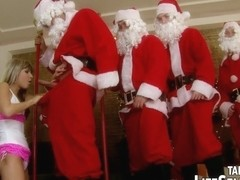 Doris Ivy makes five lascivious Santas Pleased in giant team fuck