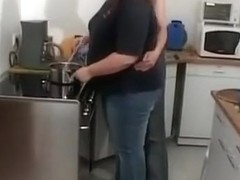 Fat woman fucked in the kitchen