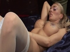 British golden-haired wench acquires screwed on the sofa in nylons
