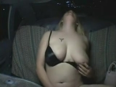 Gal with big bust rubs her wet cunt