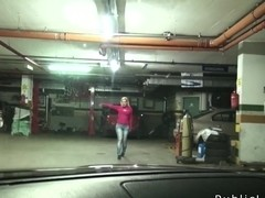 Dude fucks blonde babe in repair shop pov