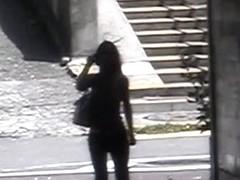 Unsuspecting asian brunette with great body sharked in public