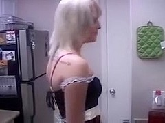 Sexy blond in maid outfit home porn movie