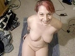 Redhead gives oral pleasure, swallows and licks her lips