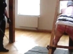 very hard caning session