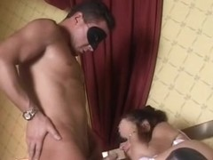Italian hoe fucks in stockings and gets facialized