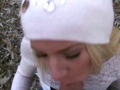 Golden-Haired honey Kiara shows off her melons and pounded in the park