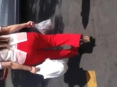 Nice booty Mexican Milf in red dress