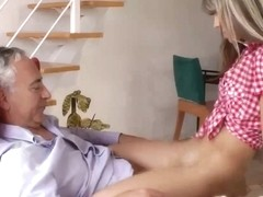 Youthful brit hottie rides old mans jock