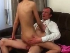 Cute skinny blonde rides her horny teacher like a stoat.