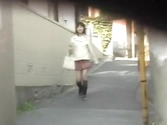 Public sharking of a cute Japanese babe in a narrow street