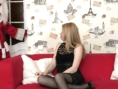 Santa Can't Resist Young Trisha's Sexy Thigh High Stockings