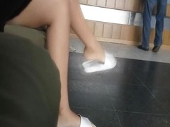 Hot college girl girl sexy cute feet and toes in slippers