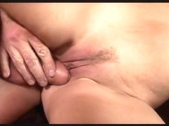 Busty blonde rides older guy to climax