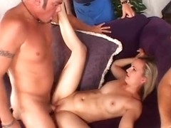 Hot juvenile golden-haired disrobes and receives her wet crack licked in front of her spouse