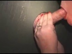 Redhead wife at gloryhole , jizz pie at end (Camaster)