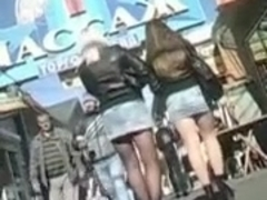 two precious looking nymphos in short denim shorts caught my attention