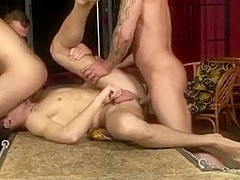 Eager hunks in hot gay group sex action