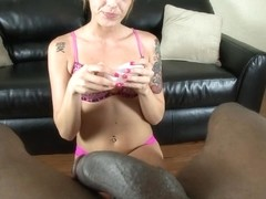 Curious interracial cook jerking by sheltered white cutie