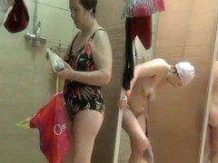 Pregnant and mature spied in shower room