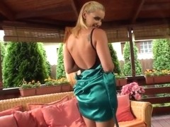 Blonde beauty Kathia Nobili stripping at home