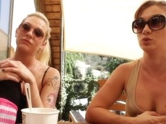 Blonde lesbian and her girlfriend chat in hd porn video