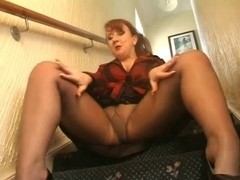 Redhead mother I'd like to fuck On The Stairs Tears Her Hose