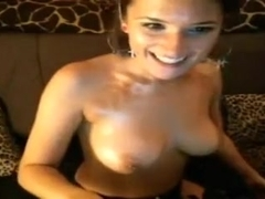 Spicy hot webcam babe with big boobies showing off her divine body