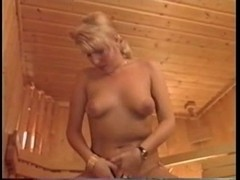 Two cocks in asshole at the sauna and gangbang action