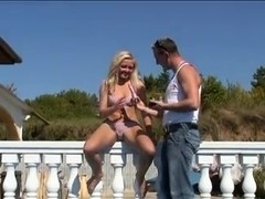 Very Hot Blonde Fuck on Balcony