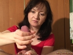 Handjob with huge cumshot