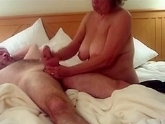 Aged deepthroat and 2-Handed Wank
