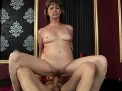 Mature slut Judyt jumping up and down on her boyfriend's dick and passionately moaning from.