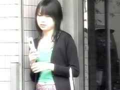 Public boob sharking of an adorable Japanese chick