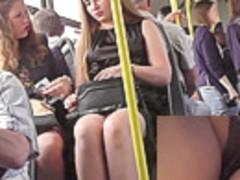 Appetizing young girlfriends in the public upskirt